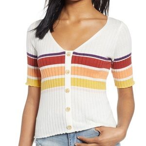 BP. Summer Stripe Sweater Cardigan Size Small